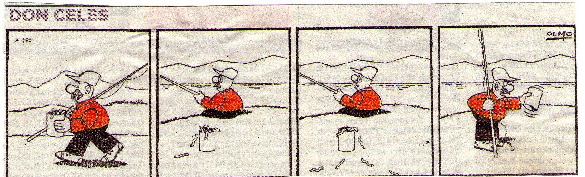 Don Celes pescando con gusanos