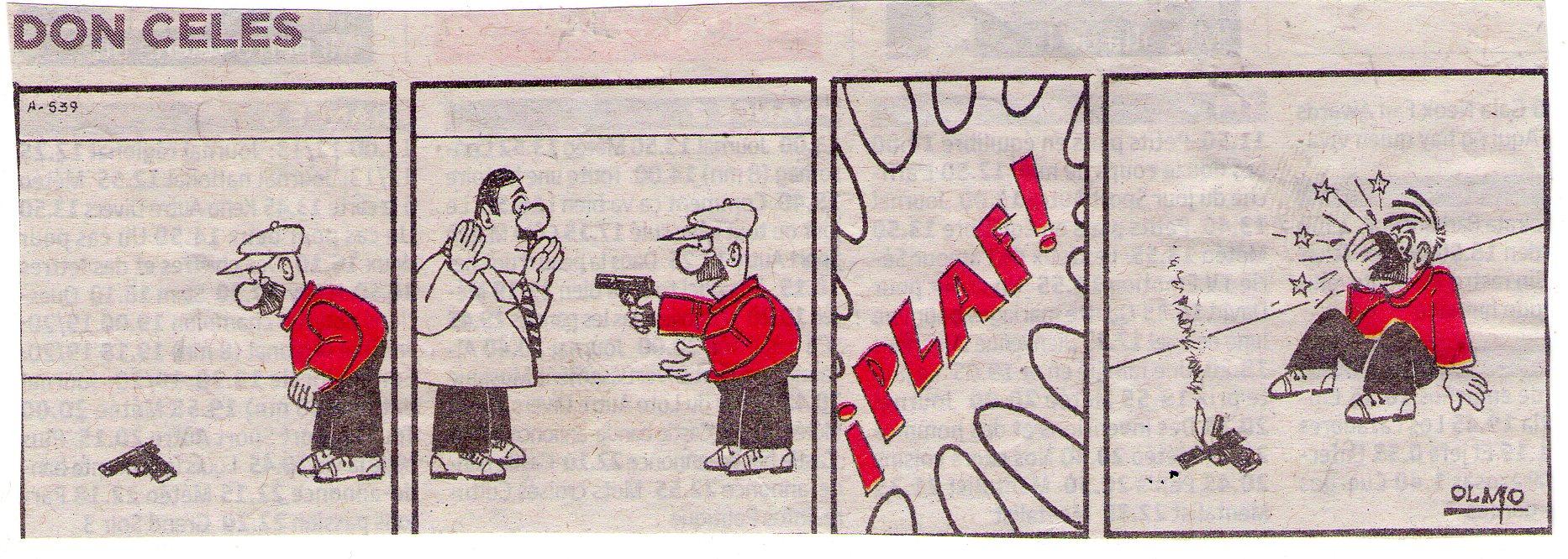 Don Celes con una pistola