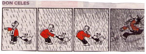 Don Celes sin paraguas bajo el agua
