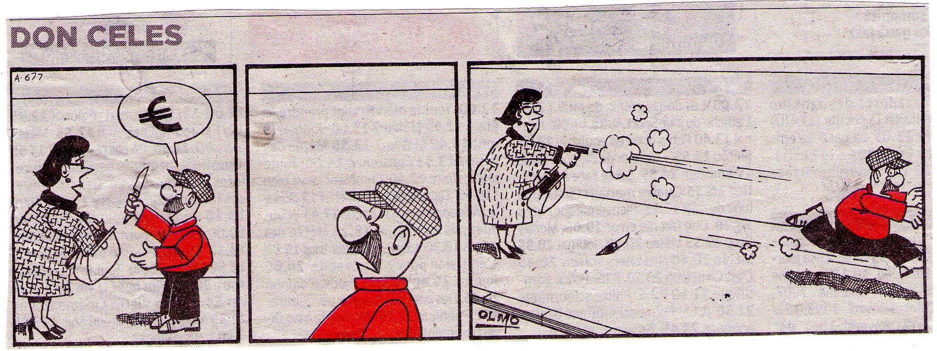 Don Celes atracando a una señora armada