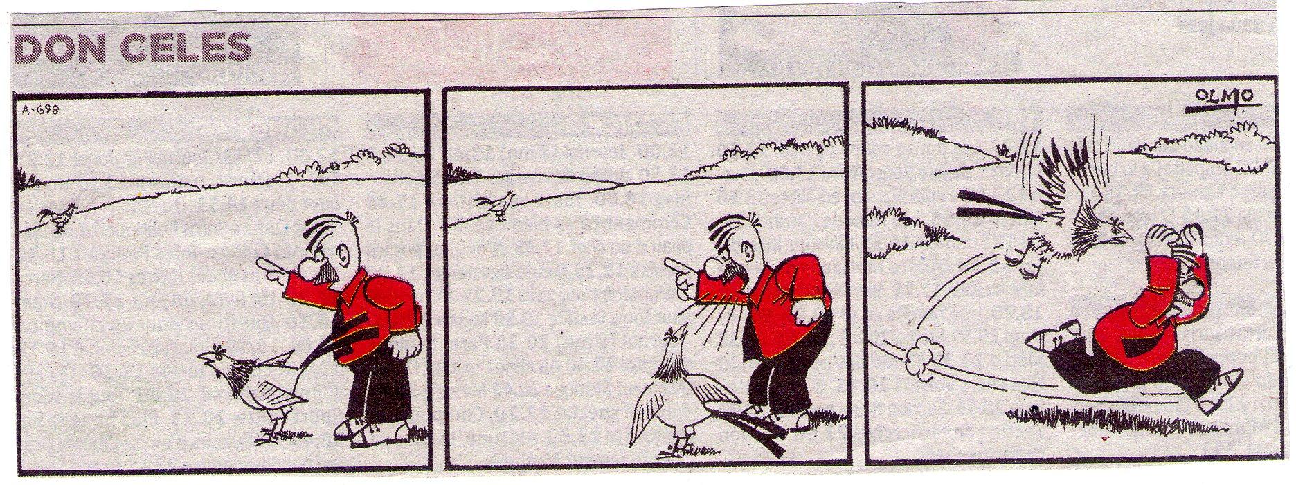 Don Celes hace luchar al gallo