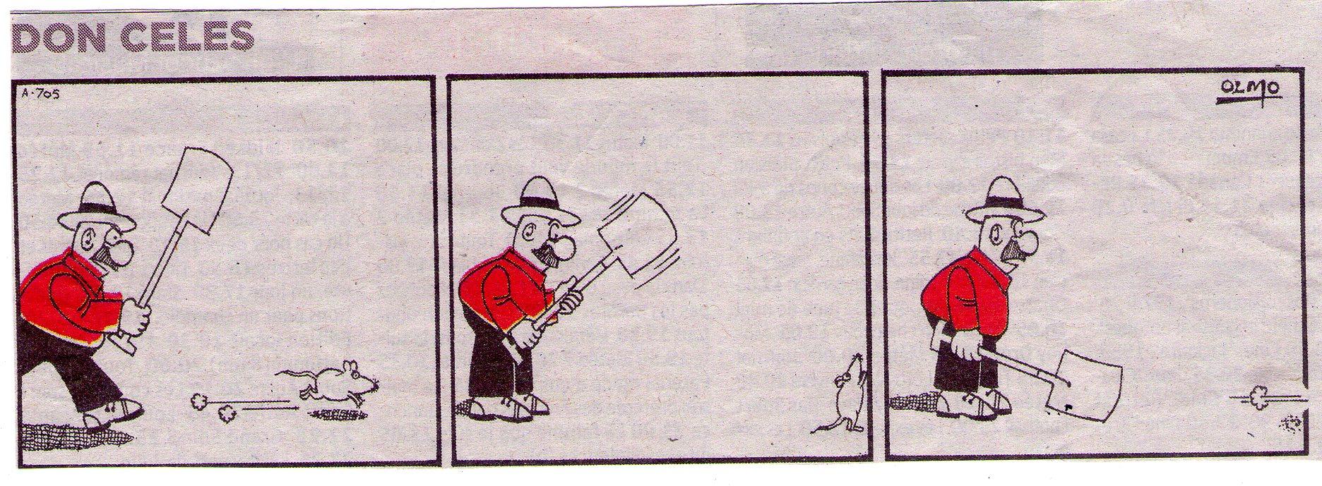 Don Celes tras un ratón que escapa
