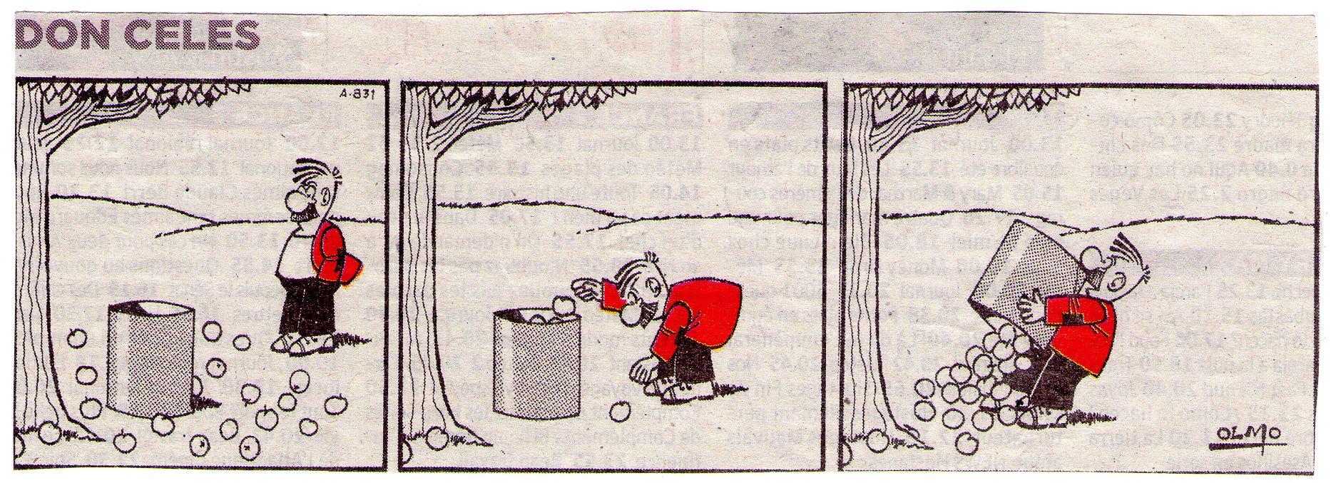 Don Celes llena una caja de manzanas