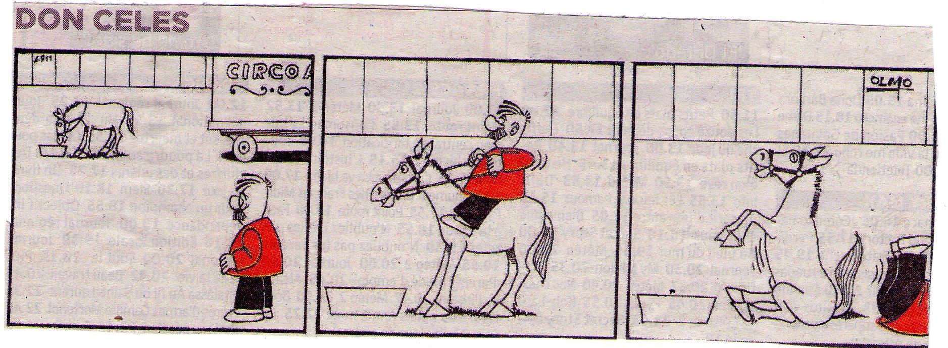 Don Celes monta un caballo de circo