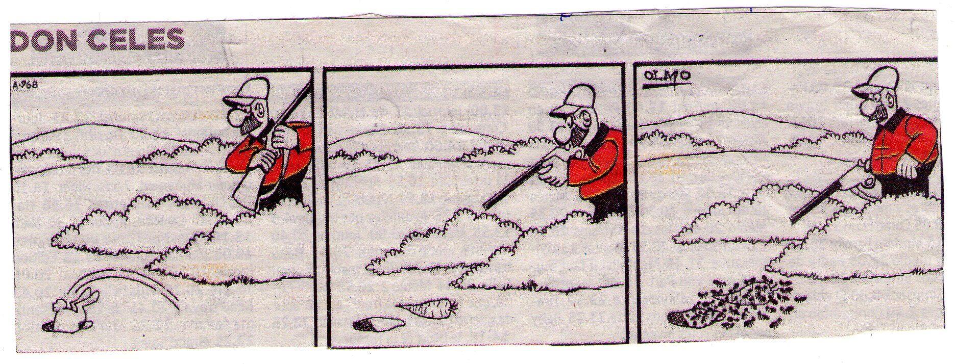 Don Celes cazando hormigas