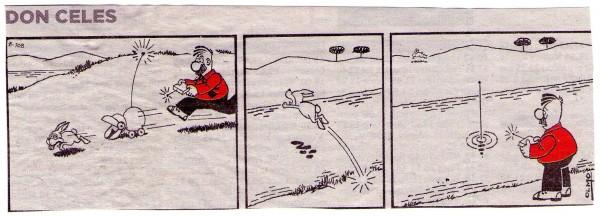 Don Celes cazando un conejo con un robot