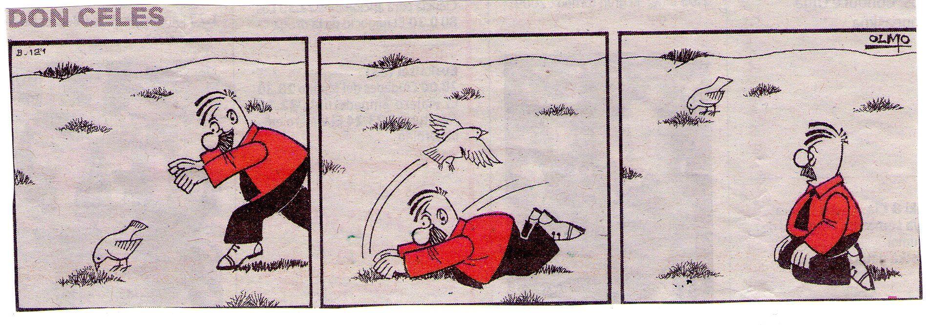 Don Celes intenta cazar un pájaro