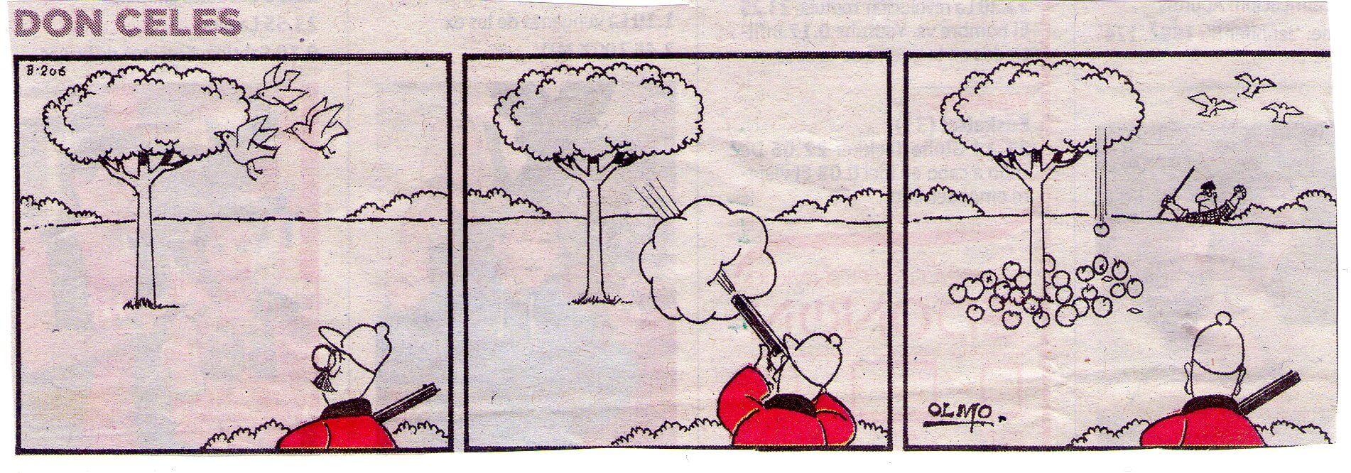 Don Celes cazando dispara al árbol y tira las manzanas
