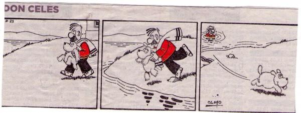 Don Celes bañando al perro