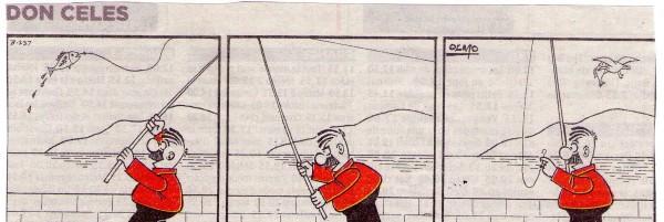 Don Celes pescando, la gaviota le roba el pez