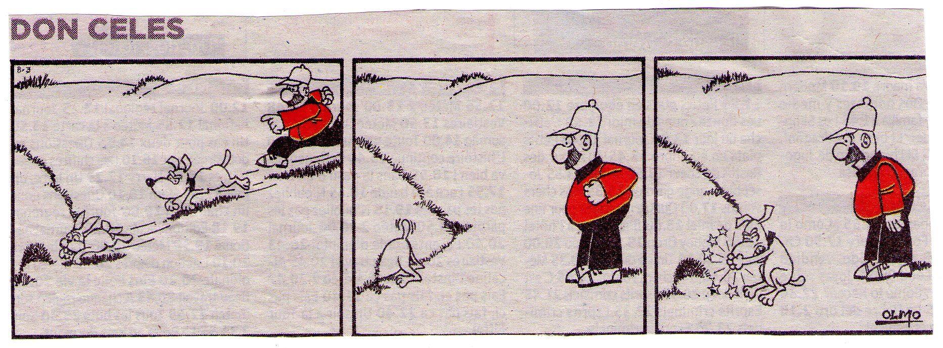 Don Celes, su perro y un conejo