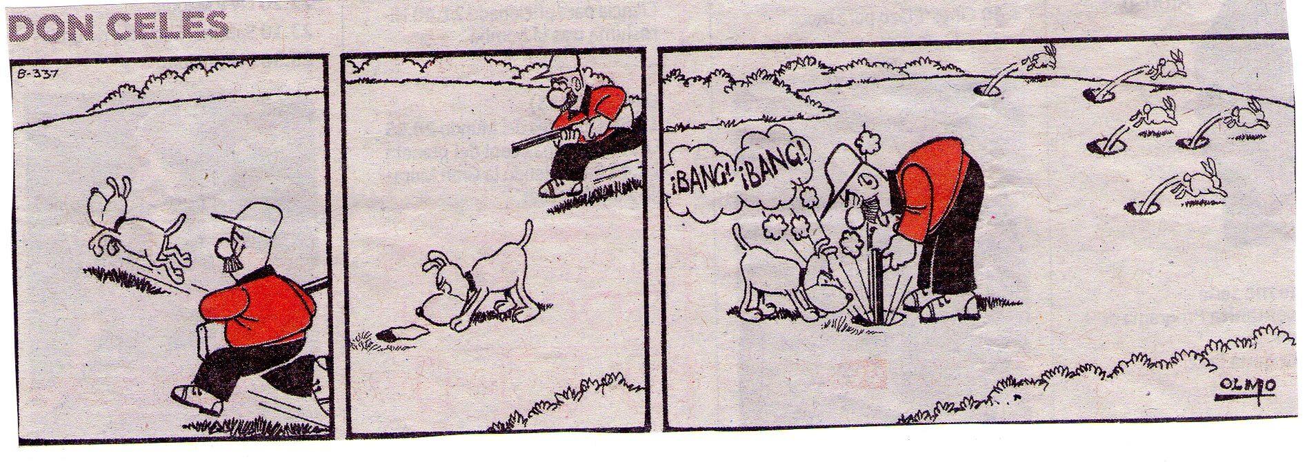 Don Celes cazando conejos