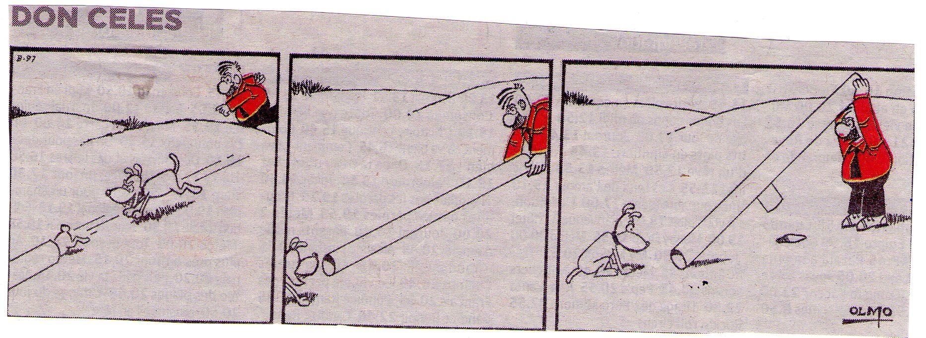 Don Celes buscando el conejo