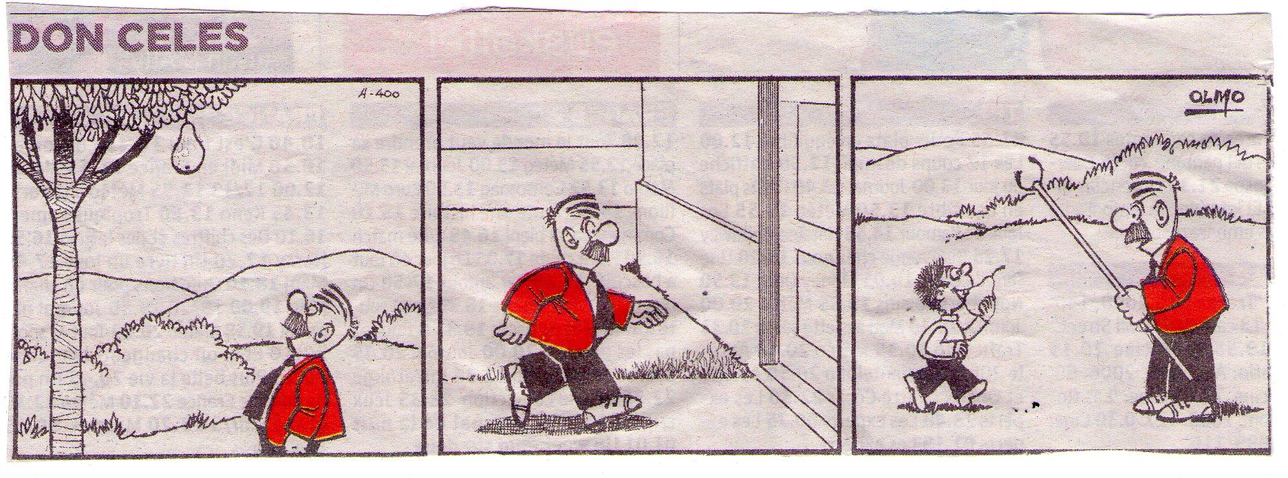 Mientras Don Celes busca algo para coger la pera se la quita el niño