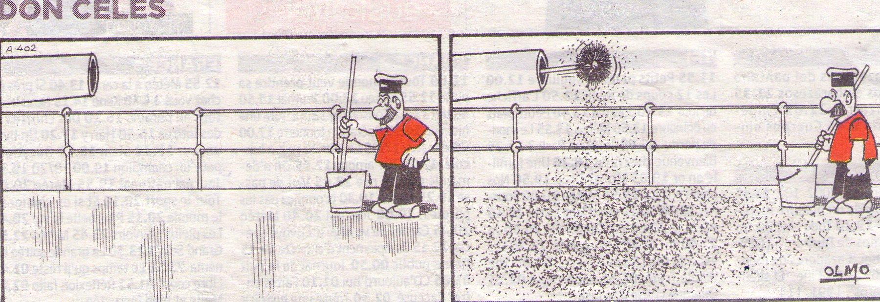 Don Celes limpiando la cubierta de un barco tiene mala suerte