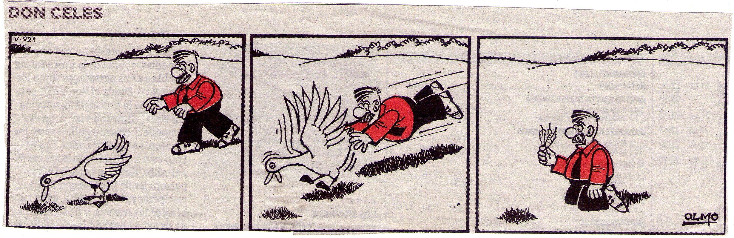 Don Celes quiere cazar un pato y se queda con las plumas