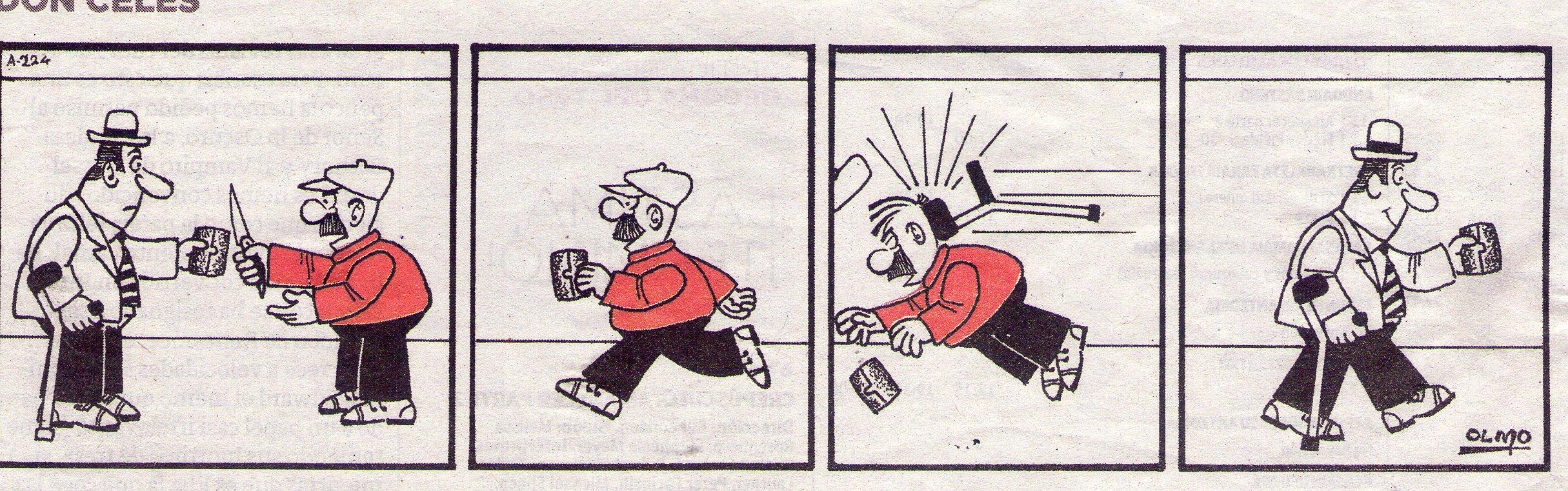 Don Celes asalta a un cojo y éste le da con la muleta