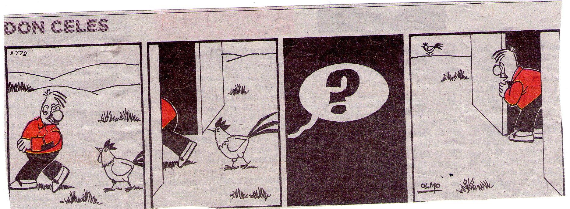Don Celes quiere coger al gallo pero no consigue engañarle