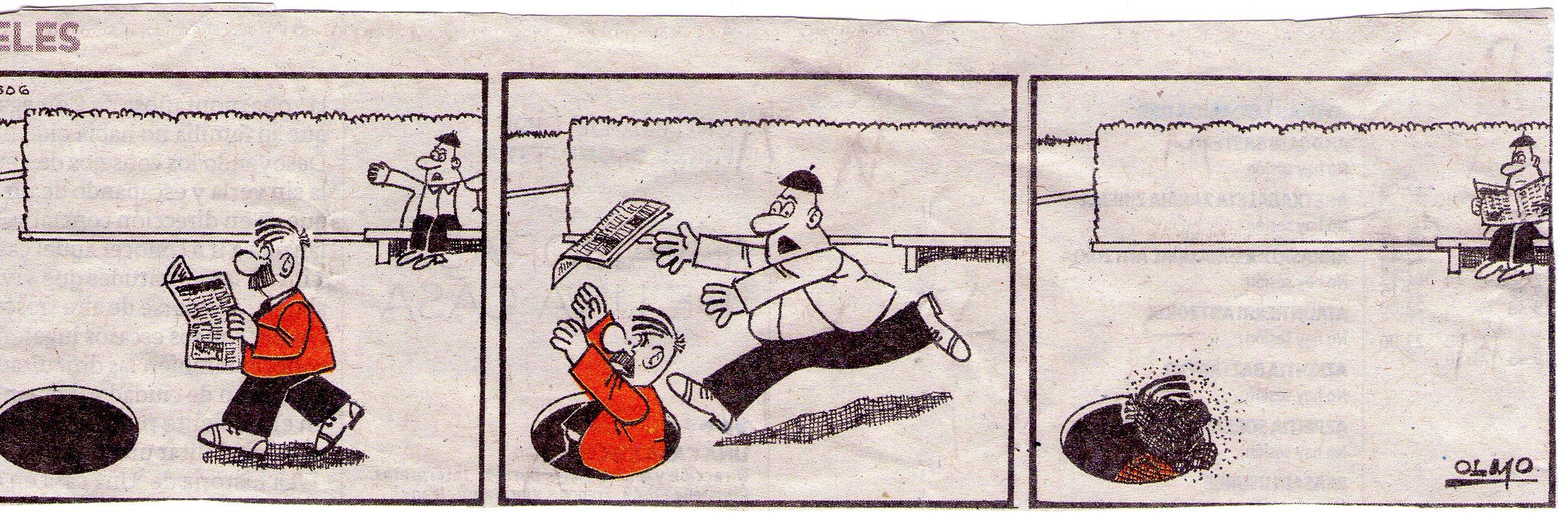 Don Celes cae a una alcantarilla y aprovechan para quitarle el periódico